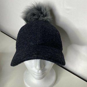 S/M UGG Australia Wool Blend Shearling Fur Pom Pom Baseball Cap Gray NWOT